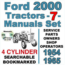 Ford 2000 4 Cylinder Tractor Service Parts Owners Manual 7 Manuals 1954 65 Cd