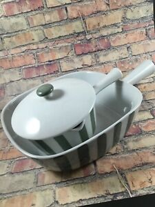 LYNGBY DANMARK DENMARK  2 MIDCENTURY GREEN STRIPED SERVING DISHES HANDLE Pot