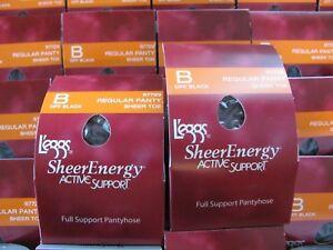 1ea1db1d7b0 6 Pair Leggs Sheer Active Support Regular Pantyhose size B Off Black ...