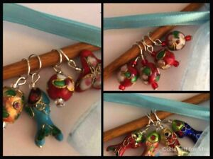 Knitterbabe Cloisonne Bead Stitch Markers x 4/set. Up to 5.0mm needles