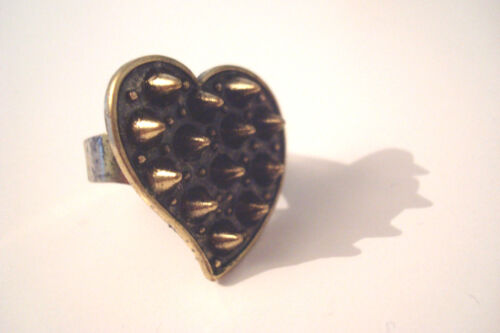 Size Q Adjustable Blackened Brass Tone Heart Shaped Punk Spiky Statement Ring