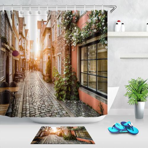 """72x72/"""" Shower Curtain Set Hooks Bathroom Waterproof Fabric Sunset Vintage Street"""