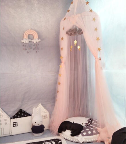 Kids Baby Bedcover Bed Canopy Mosquito Net Tent Yarn Curtain w// Star Garlands