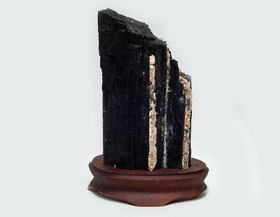 Begeistert Schwarzer Turmalin/schörl Kristall Xl Nr. 2 Auf Holzsockel, 2350 Gramm