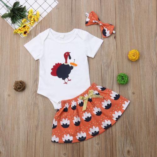 USStock Turkey Newborn Baby Girl Romper Top Skirt Princess Dress Outfit Clothes