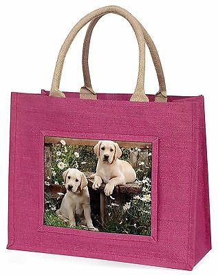 Gelber Labrador Welpen Große Rosa Einkaufstasche Weihnachtsgeschenk Ide,