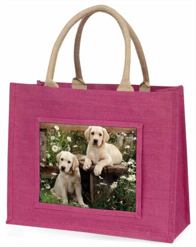 Yellow Labrador Puppies Large Pink Shopping Bag Christmas Present Ide, ADL50BLP