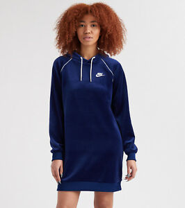 eae97c80034d Nike Sportswear Women s Velour Hooded Dress M Blue White Hoodie Long ...