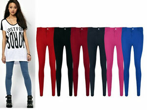 NEW-LADIES-SKINNY-FIT-COLOURED-STRETCHY-JEANS-WOMENS-JEGGINGS-TROUSERS-8-16