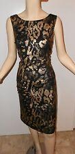 NWT Frank Lyman black gold pewter knit sheath dress 8
