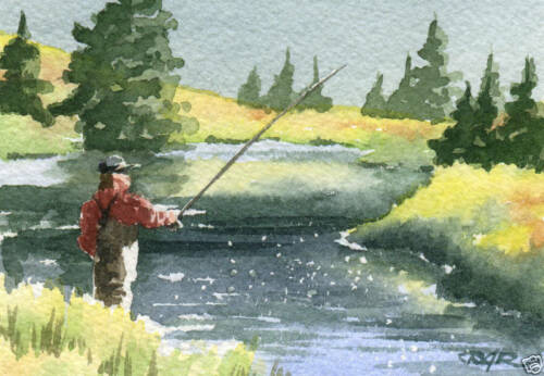 """Fly Fishing /""""THE HATCH IS ON/"""" ACEO Miniature Art Print Signed by Artist DJR"""
