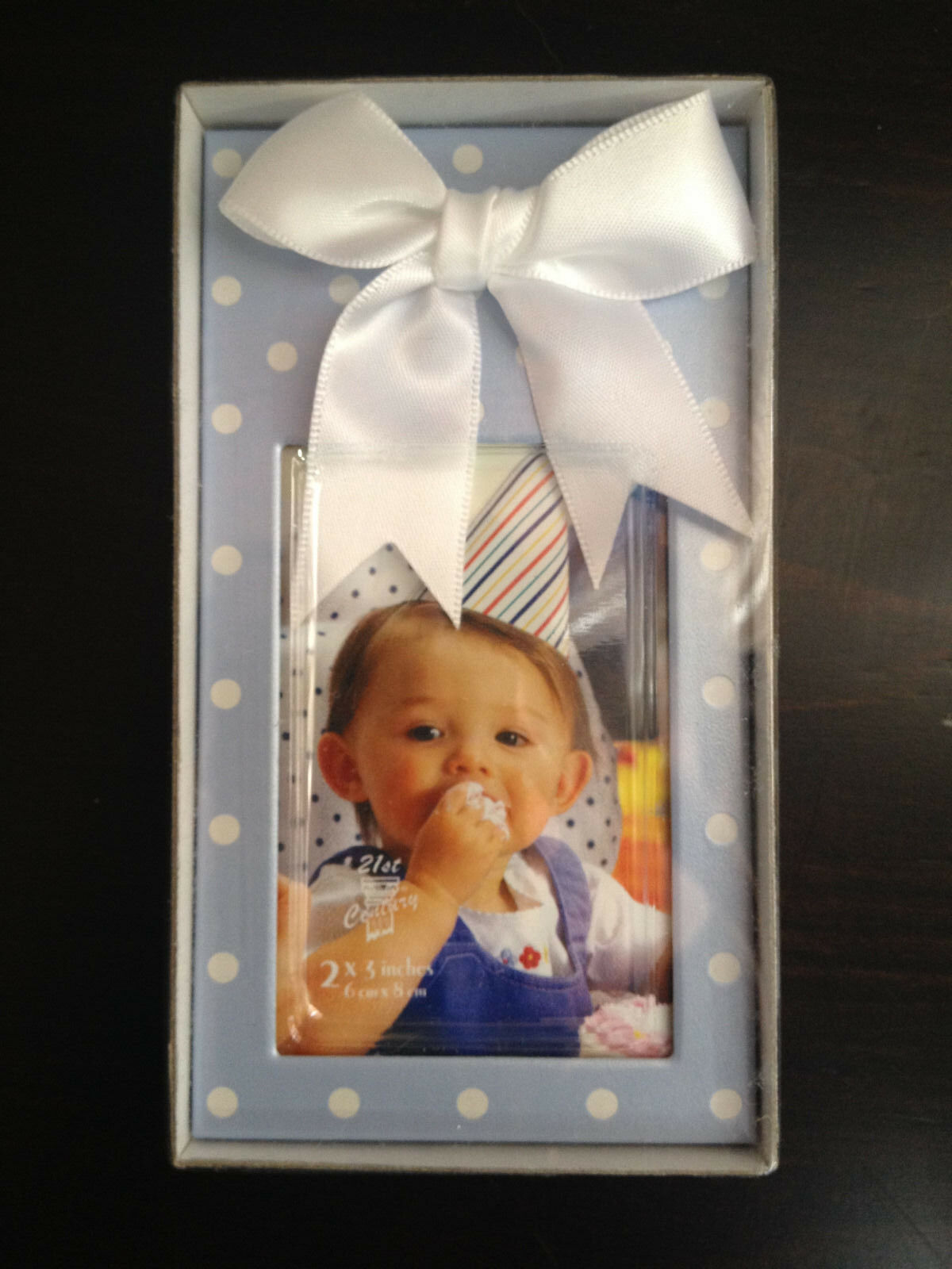 25 2x3 Blau Polka Dot Frame w  Weiß Bow - BABY SHOWER FAVORS