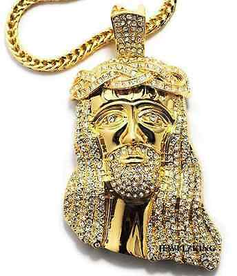 """BRAND NEW!! ICED OUT GOLD FINSH JESUS PIECE HIP HOP PENDANT & 36"""" FRANCO CHAIN"""