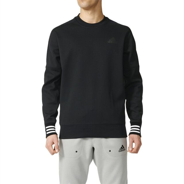 Adidas Me's NEW Sport ID Crew Neck Long Sleeve Fleece Pullover Black Sweatshirt