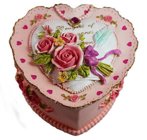 Image Is Loading Pink Heart Resin Jewellery Box With Floral Patterns