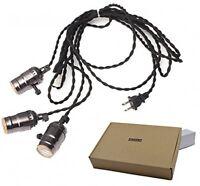 Triple Light Sockets Pendant Hanging Light Cord Plug-in Light Fixture - No Tax on sale