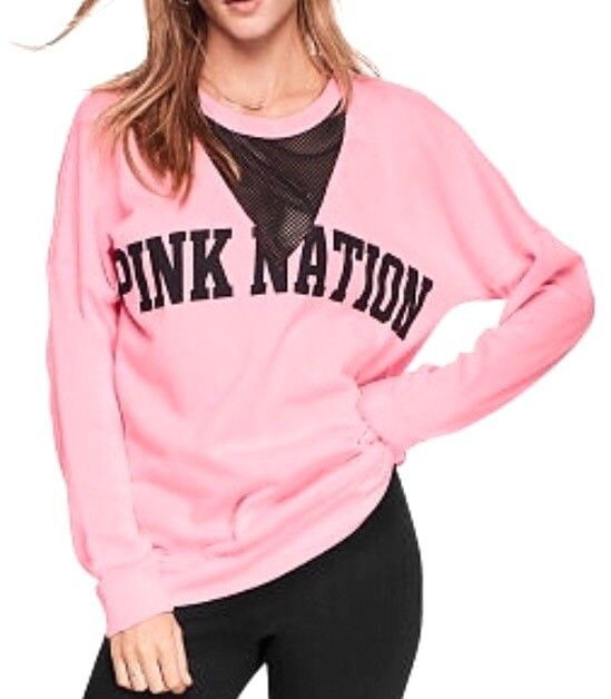 VICTORIA'S SECRET PINK VARSITY CREW MESH CUTOUT  SIZE MEDIUM NEW BL115