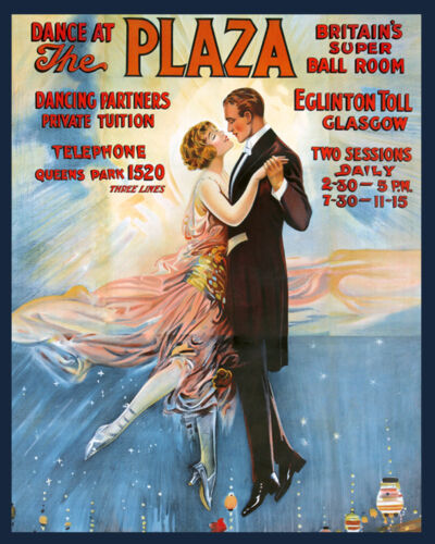 Dancing at the Plaza Britain Ball Room Glasgow Vintage Poster Repo FREE SH in US