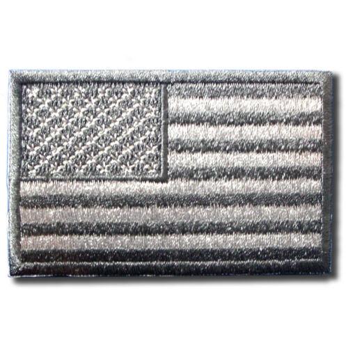 Gray American US Flag Military Camo Patch Iron On Vest Harley Biker Chopper MC