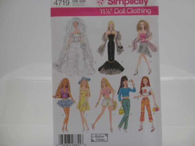 """Simplicity 4719, Barbie Clothes, 11 1/2"""" Doll Clothing Sewing Pattern, One Size"""