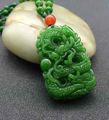 Natural Green Hand-carved Chinese Hetian Jade Pendant Dragon-Free Necklace