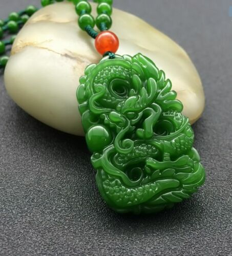 Natural Green Hand-carved Chinese Hetian Jade Pendant Dragon-Free Necklace/%