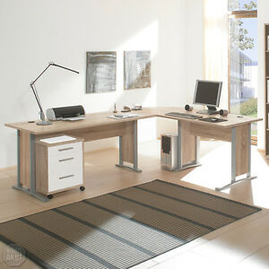 winkelschreibtisch office line b ro schreibtisch rollcontainer sonoma eiche wei ebay. Black Bedroom Furniture Sets. Home Design Ideas