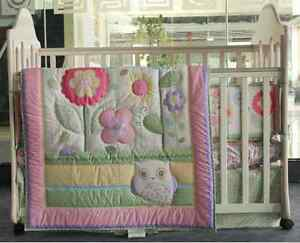 Image Is Loading 6 Piece Baby Bedding Set Flowers Owl