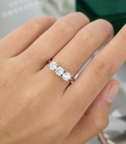 Forever One Diamond Three Stone Engagement Wedding Ring 1.50 CT Round Diamond