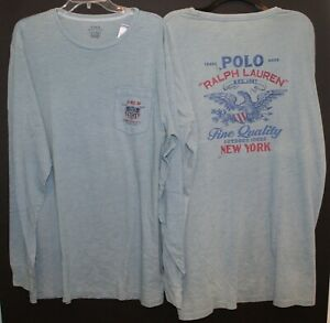 Polo-Ralph-Lauren-Big-and-Tall-Mens-Faded-Blue-Polo-Eagle-L-S-T-Shirt-NWT-XLT