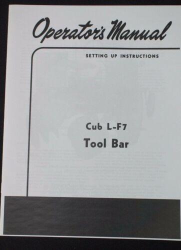 IH International /& Farmall Cub L-F7 1pt Fast Hitch Tool Bar Hipper Owners Manual