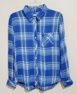 Rails Blue Plaid Flannel Button Front Shirt Top Women's Size Small Long Sleeve