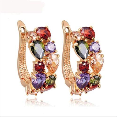 2Pcs Set Monalisa Natural Morganite Amethyst Rose Gold Plated Bracelet Earrings