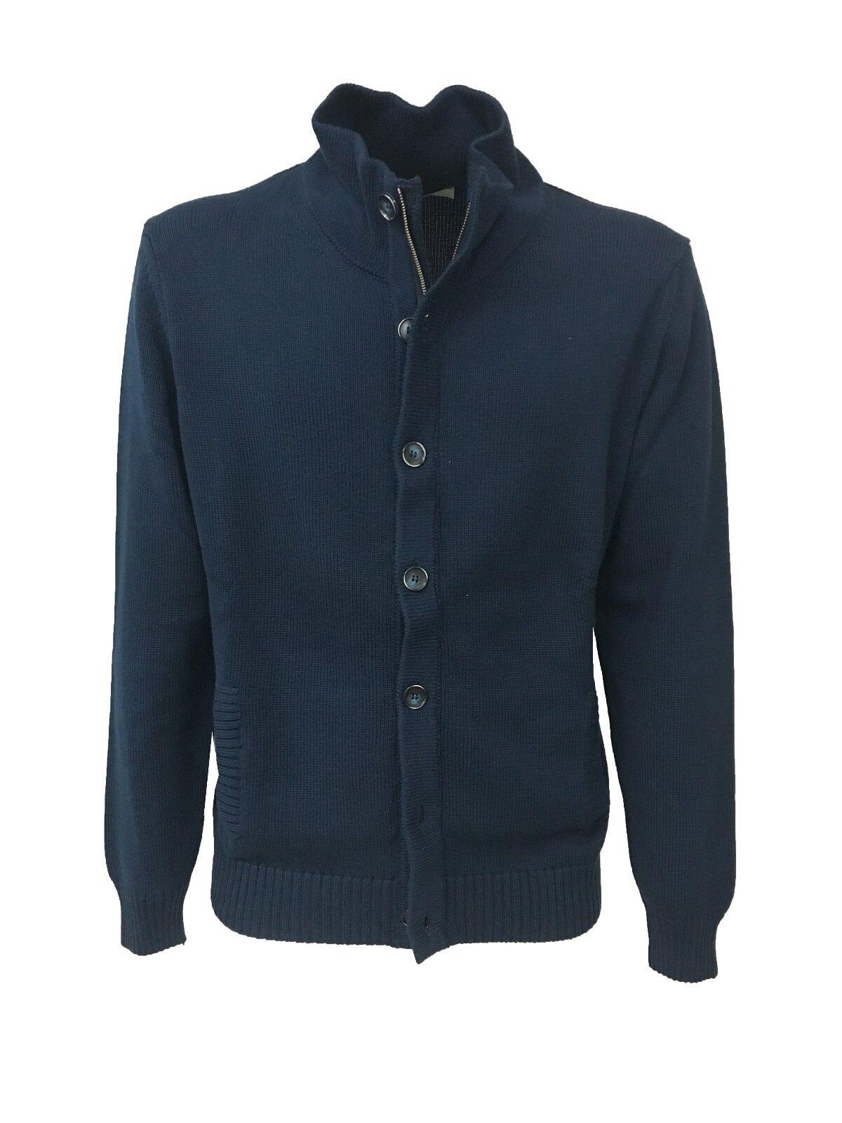 PANICALE cardigan uomo blu con bottoni e zip 100% cotone MADE IN ITALY slim