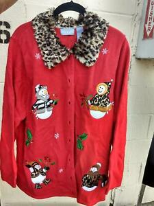 Women-039-s-UGLY-CHRISTMAS-SWEATER-by-Liz-amp-Me-Size-1X-Red-w-Faux-fur-collar
