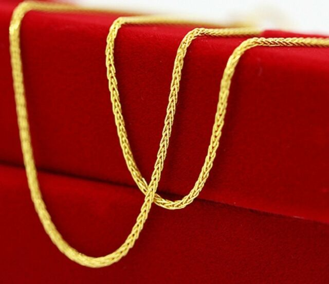 20 Inches Solid 18K Yellow Gold Necklace/ Unisex Wheat Chain Necklace/ 2.56g