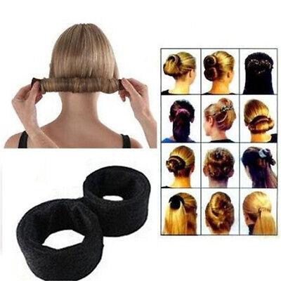 US Seller Women DIY Lovely Styling Tool Fold Wrap Snap Donut Hair Bun Updo avis
