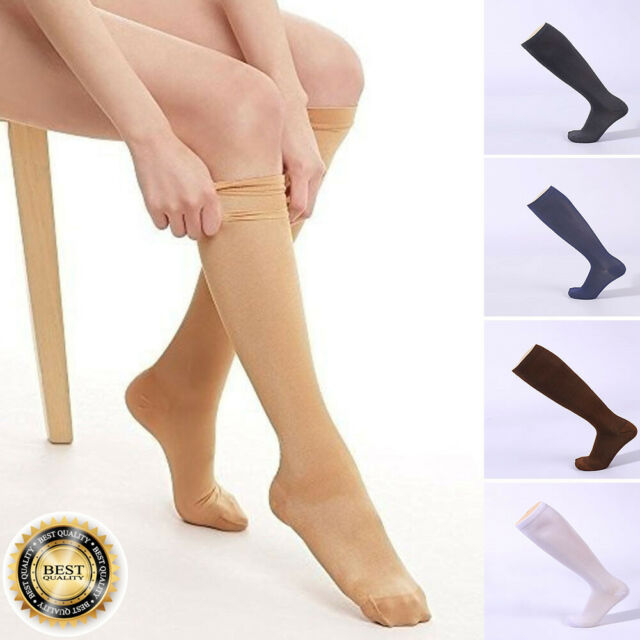 2 PAIRS LADIES KNEE HIGH BOOTS CREW SOCKS 9-11 BLACK GRAY BLUE SOLID  WHITE