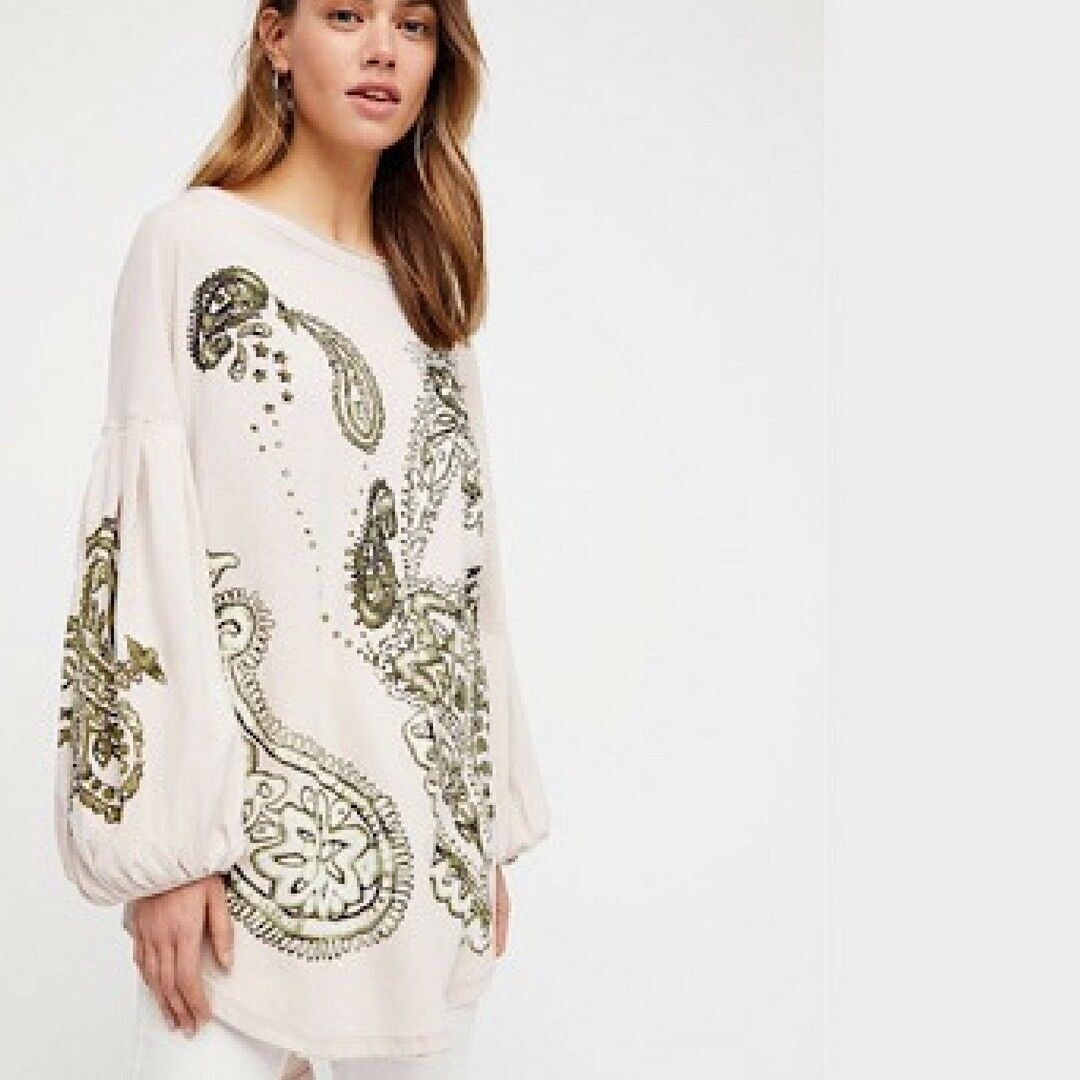 FREE PEOPLE Natural We The Free Montana Tee Top Größe Small-S Retail  BNWT