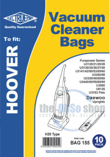 10 x HOOVER Vacuum Cleaner Bags H20 Type To Fit PUREPOWER U3565 U3576 U6125