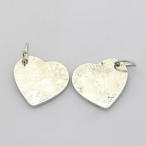 Metal Stamping Blanks Silver 21mm Blank Charms w/ Jump Ring Tags Heart Blanks