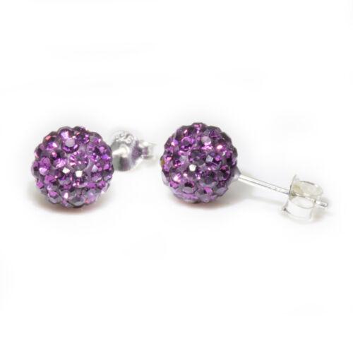 Amethyst Genuine Sterling Silver 6mm Shamballa Crystal Ball Stud Earrings