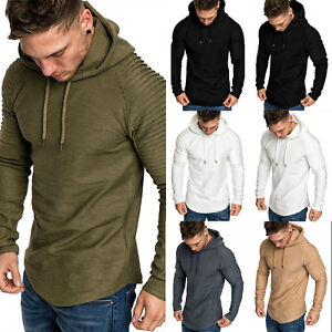 Muscle-Mens-Long-Sleeve-Casual-Tops-Shirts-Slim-Fit-Hooded-T-shirt-Hoddies-UK