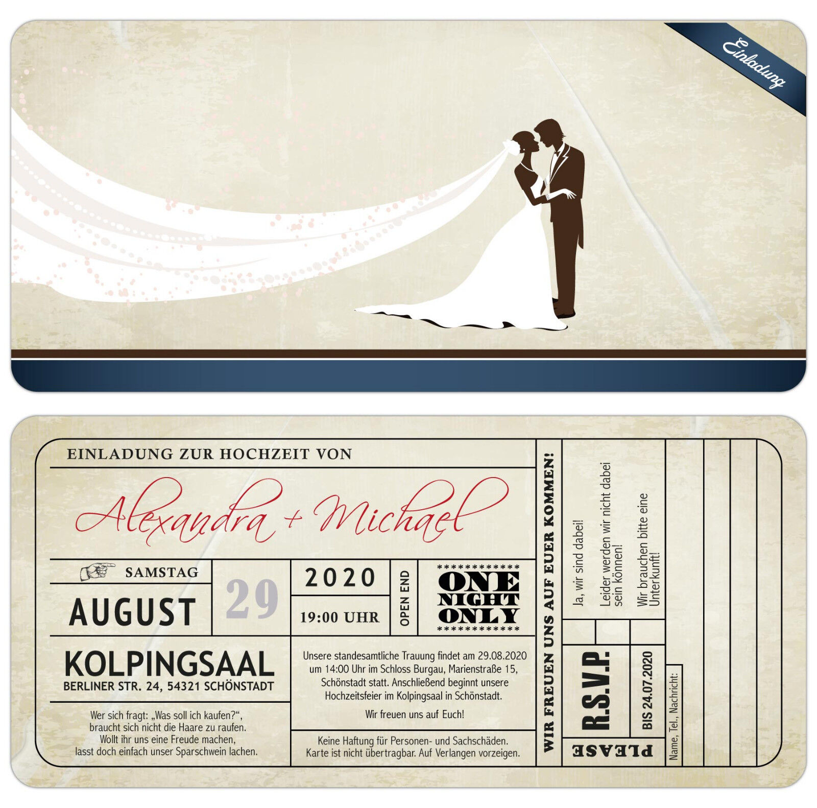 Vintage Einladungskarte zur Hochzeit mit Antwortkarte im Used-Look mit Abriss