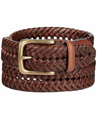 $197 TOMMY HILFIGER Men BROWN BUCKLE GENUINE LEATHER STRAP BRAIDED DRESS BELT 42