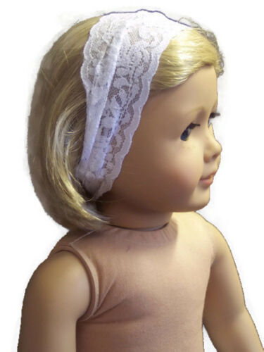 White Stretchy Lace Headband for 18 inch American Girl Doll Clothes Accessories
