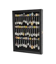 36 Spoon Display Case Rack Holder Wall Cabinet, glass door, Black,  SP01-BLA