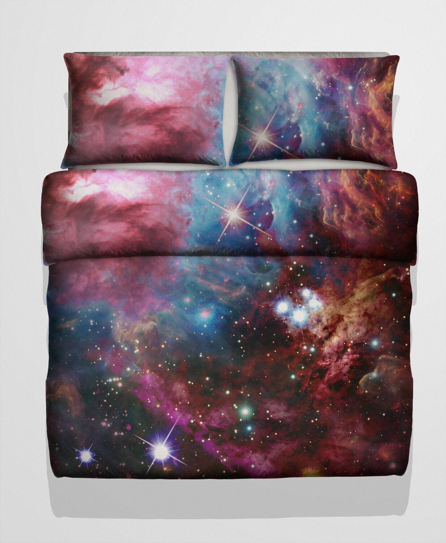 3D Set Singolo, Doppio, King Size Galaxy Set 3D Copripiumino Letto Nebula Star Cosmo 8191e3