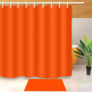 Image Is Loading Orange Red Shower Curtain Plain Color Print For