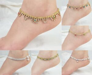 Image Is Loading Ankle Bracelet Anklet Indian Bollywood Gold Payal Foot